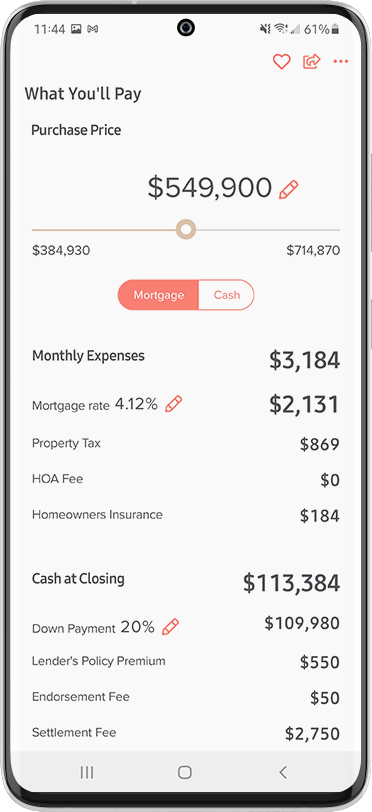Home Search App Features - 14 Mortgage Calculator