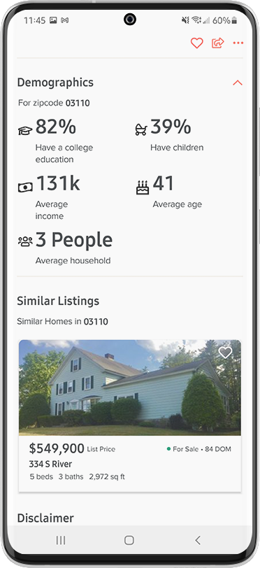 Home Search App Features - 15 Demographics Data